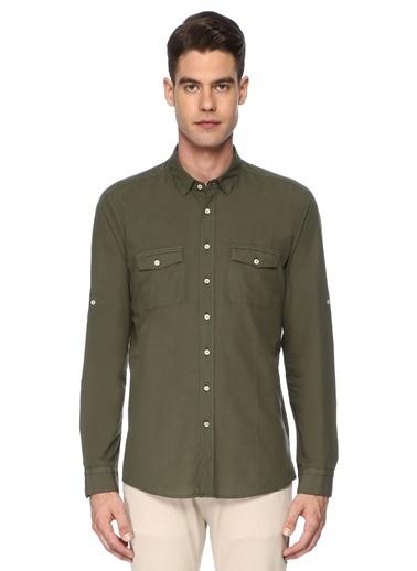 Que Slim Fit Uzun Kollu Gömlek Haki